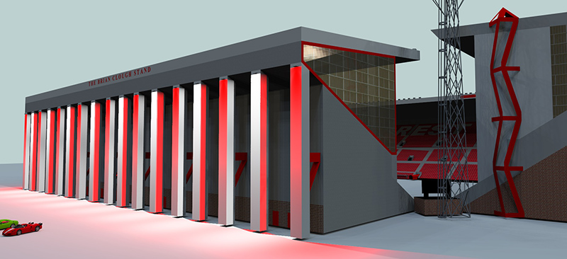 Brian Clouph, Stand, lighting, Nottingham Forest, Adam Spinos, look4ideas, lighting design, LED